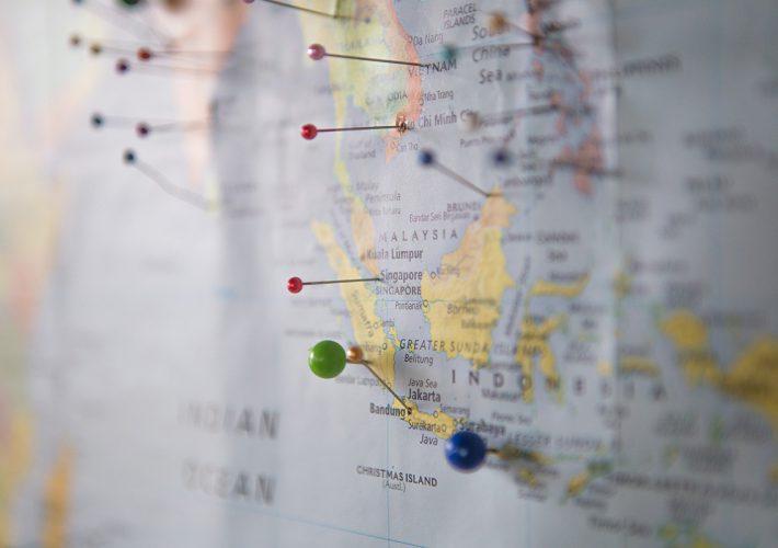 Weltkarte Digital Nomads mit Pins