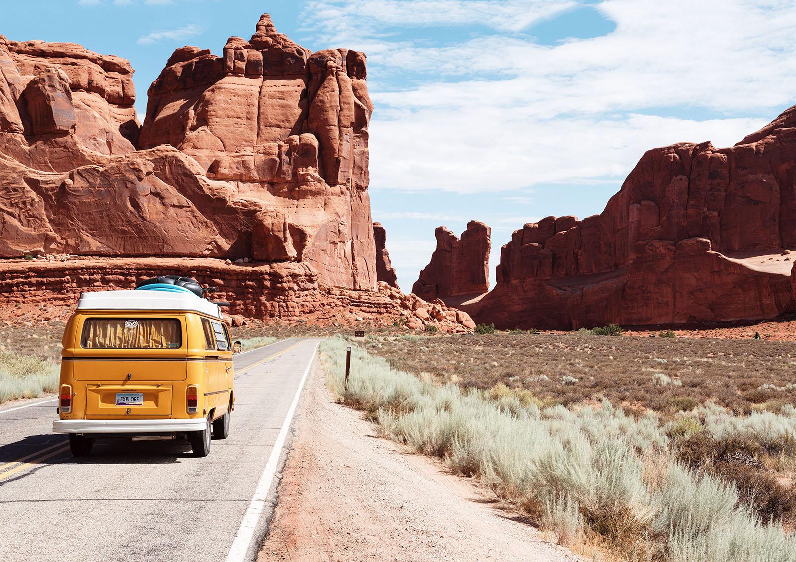 Camper auf Reiseroute