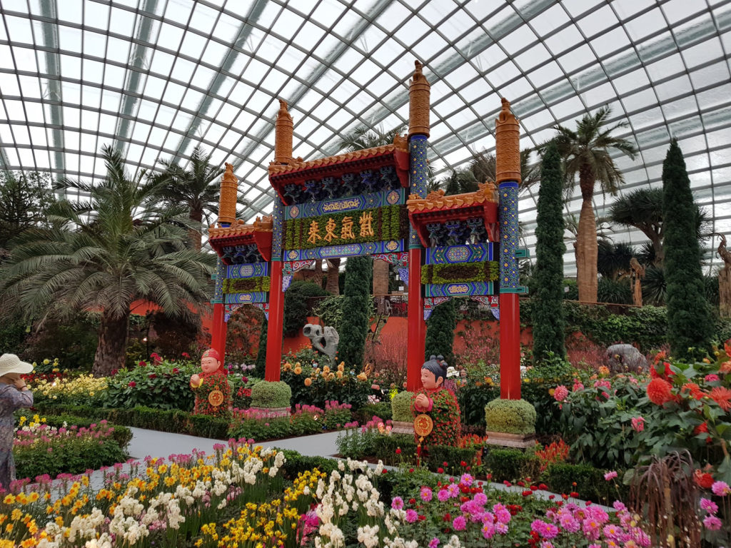 Tempel in Flower Dome in Singapur