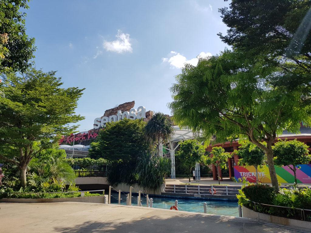 Blick auf Sentosa-Insel in Singapur
