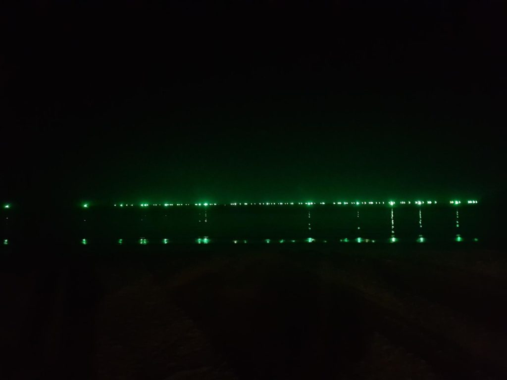 Grüne Lichter am Horizont bei Nacht